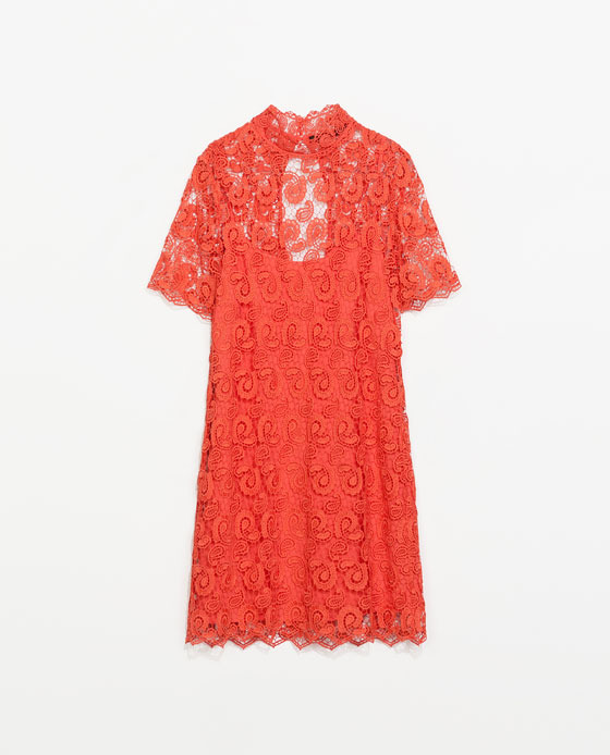 Crochet Dress - style: shift; neckline: high neck; predominant colour: bright orange; length: just above the knee; fit: straight cut; fibres: polyester/polyamide - 100%; occasions: occasion, creative work; sleeve length: short sleeve; sleeve style: standard; texture group: lace; pattern type: fabric; pattern: patterned/print; embellishment: lace; trends: lace; season: s/s 2014