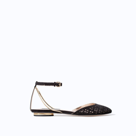 Vamp With Open Work Heel - secondary colour: gold; predominant colour: black; occasions: casual; material: faux leather; heel height: flat; ankle detail: ankle strap; toe: round toe; style: ballerinas / pumps; finish: plain; pattern: plain; season: s/s 2014