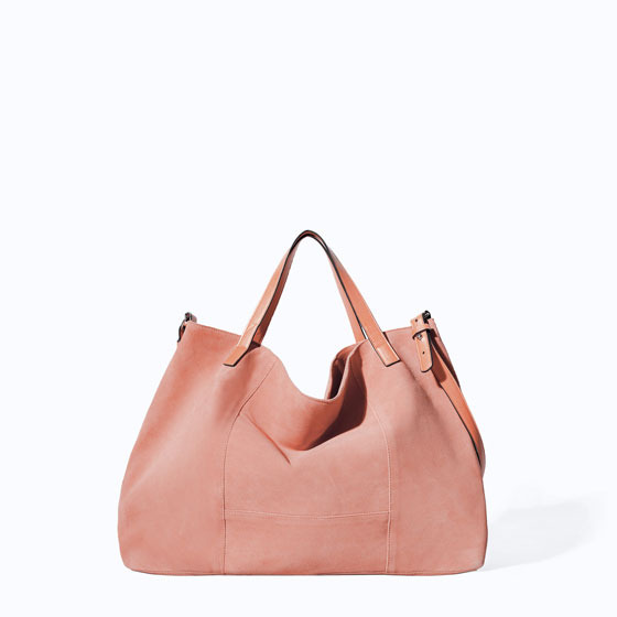 Leather And Suede Shopper - predominant colour: blush; occasions: casual; style: tote; length: shoulder (tucks under arm); size: standard; material: leather; pattern: plain; finish: plain; trends: sorbet shades; season: s/s 2014