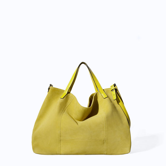 Leather And Suede Shopper - predominant colour: yellow; occasions: casual; style: tote; length: shoulder (tucks under arm); size: standard; material: leather; pattern: plain; finish: plain; season: s/s 2014