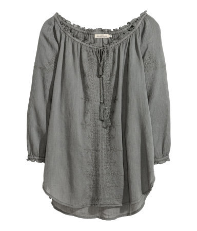 Bohemian Style Blouse - pattern: plain; predominant colour: charcoal; occasions: casual, creative work; length: standard; neckline: scoop; fibres: cotton - 100%; fit: loose; style: gypsy/peasant; back detail: longer hem at back than at front; sleeve length: 3/4 length; sleeve style: standard; texture group: cotton feel fabrics; pattern type: fabric; season: s/s 2014