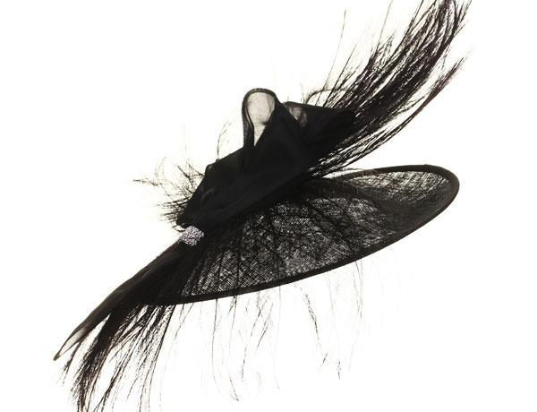 Imogen - predominant colour: black; occasions: occasion; type of pattern: standard; style: fascinator; size: large; material: sinamay; pattern: plain; season: s/s 2014; embellishment: feather