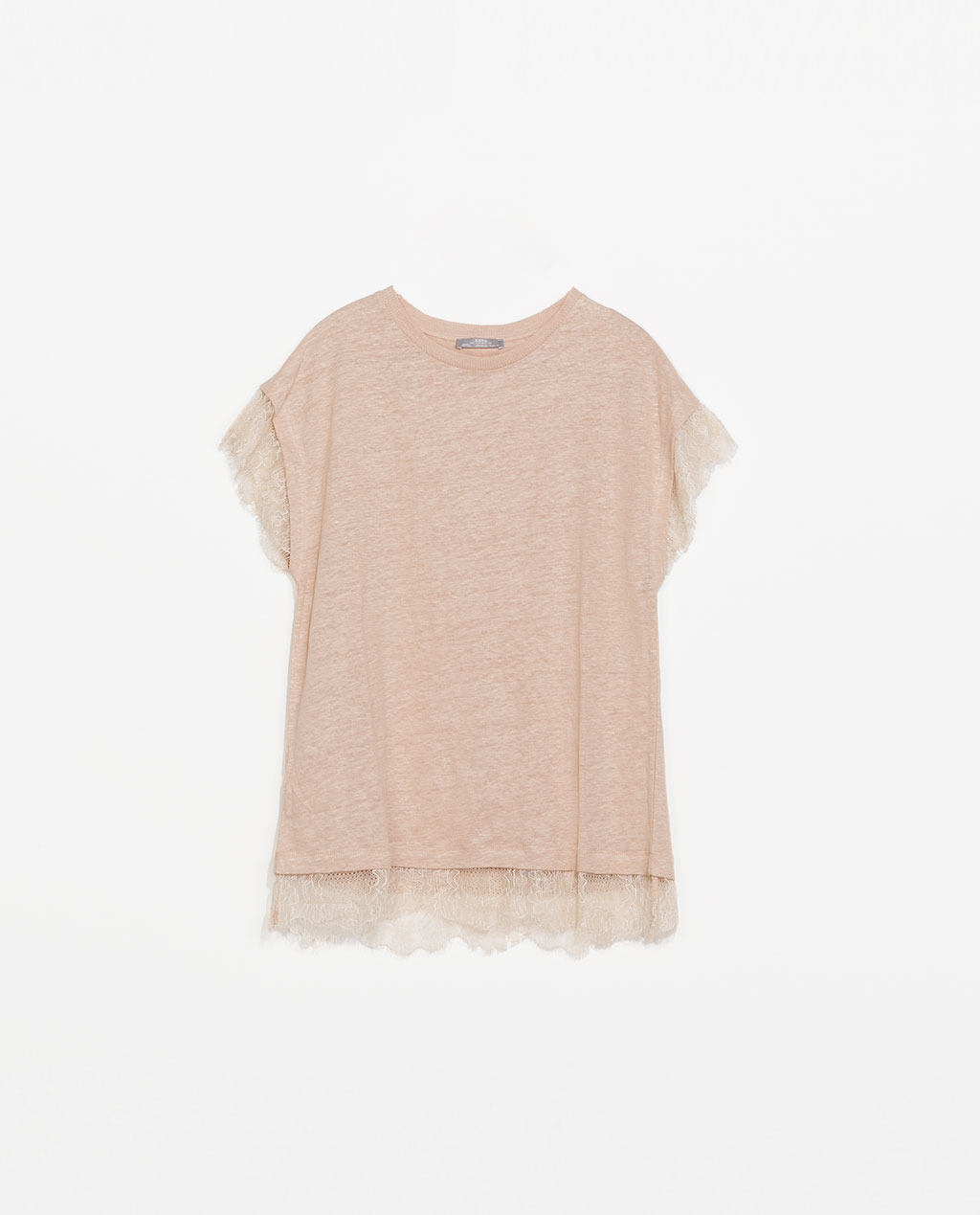 Lace Linen T Shirt - neckline: round neck; pattern: plain; style: t-shirt; predominant colour: nude; occasions: casual, creative work; length: standard; fibres: linen - 100%; fit: straight cut; sleeve length: short sleeve; sleeve style: standard; texture group: linen; pattern type: fabric; embellishment: lace; trends: lace; season: s/s 2014