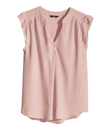 V Neck Blouse - neckline: low v-neck; pattern: plain; style: blouse; sleeve style: volant; predominant colour: blush; occasions: casual, work, occasion, holiday, creative work; length: standard; fibres: viscose/rayon - 100%; fit: straight cut; sleeve length: short sleeve; texture group: silky - light; pattern type: fabric; trends: sorbet shades; season: s/s 2014