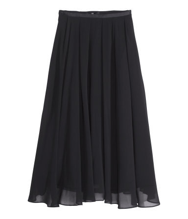 Calf Length Skirt - length: calf length; pattern: plain; fit: loose/voluminous; style: pleated; waist: mid/regular rise; predominant colour: black; occasions: casual, evening, work, creative work; fibres: polyester/polyamide - 100%; texture group: sheer fabrics/chiffon/organza etc.; trends: powerful pleats; season: s/s 2014