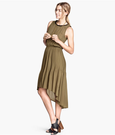 Chiffon Dress - neckline: round neck; fit: fitted at waist; pattern: plain; sleeve style: sleeveless; waist detail: elasticated waist; predominant colour: khaki; occasions: casual, evening, occasion, creative work; length: just above the knee; style: asymmetric (hem); fibres: polyester/polyamide - 100%; back detail: longer hem at back than at front; sleeve length: sleeveless; texture group: sheer fabrics/chiffon/organza etc.; pattern type: fabric; trends: powerful pleats, world traveller; season: s/s 2014