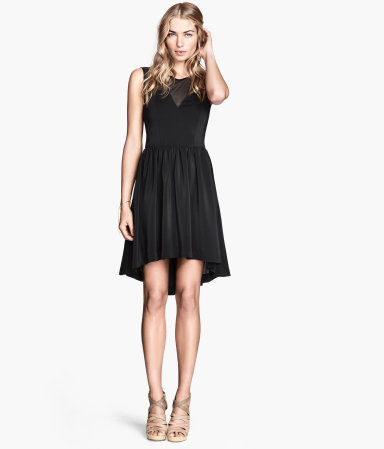 Sleeveless Dress - pattern: plain; sleeve style: sleeveless; predominant colour: black; occasions: evening, occasion; length: just above the knee; fit: fitted at waist & bust; style: fit & flare; fibres: polyester/polyamide - 100%; neckline: crew; back detail: longer hem at back than at front; sleeve length: sleeveless; texture group: silky - light; pattern type: fabric; season: s/s 2014
