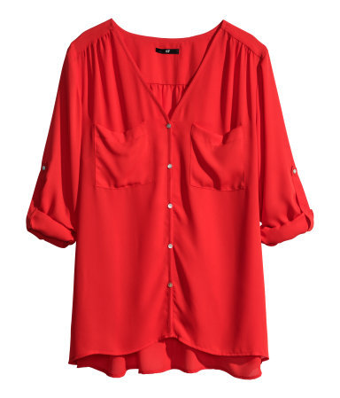 V Neck Blouse - neckline: low v-neck; pattern: plain; style: blouse; predominant colour: true red; occasions: casual, work, occasion, creative work; length: standard; fibres: polyester/polyamide - 100%; fit: straight cut; sleeve length: 3/4 length; sleeve style: standard; texture group: silky - light; pattern type: fabric; trends: hot brights; season: s/s 2014