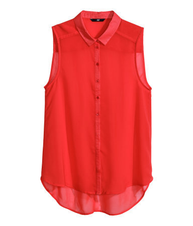 Sleeveless Blouse - neckline: shirt collar/peter pan/zip with opening; pattern: plain; sleeve style: sleeveless; style: blouse; predominant colour: true red; occasions: casual, evening, work, occasion, holiday, creative work; length: standard; fibres: polyester/polyamide - 100%; fit: straight cut; sleeve length: sleeveless; texture group: sheer fabrics/chiffon/organza etc.; pattern type: fabric; trends: hot brights; season: s/s 2014