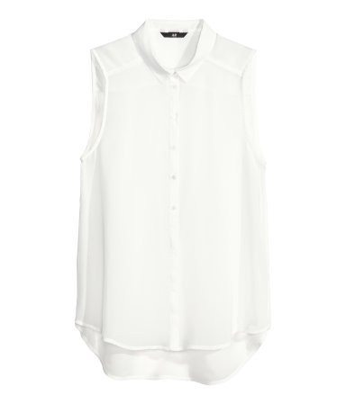 Sleeveless Blouse - neckline: shirt collar/peter pan/zip with opening; pattern: plain; sleeve style: sleeveless; style: blouse; predominant colour: white; occasions: casual, evening, work, occasion, holiday, creative work; length: standard; fibres: polyester/polyamide - 100%; fit: straight cut; sleeve length: sleeveless; texture group: sheer fabrics/chiffon/organza etc.; pattern type: fabric; season: s/s 2014