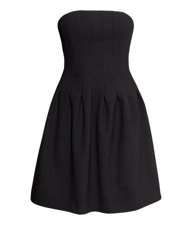 Crêpe Bandeau Dress - length: mid thigh; neckline: strapless (straight/sweetheart); pattern: plain; sleeve style: strapless; predominant colour: black; occasions: casual, evening, occasion, holiday; fit: fitted at waist & bust; style: fit & flare; fibres: polyester/polyamide - stretch; sleeve length: sleeveless; texture group: crepes; pattern type: fabric; season: s/s 2014