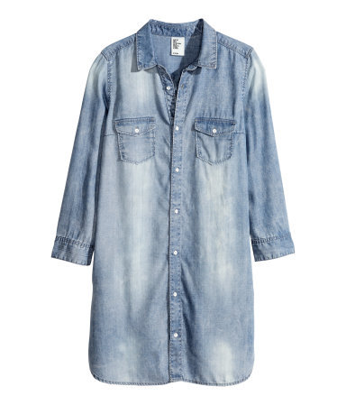 Denim Dress - style: shirt; length: mid thigh; neckline: shirt collar/peter pan/zip with opening; fit: loose; pattern: plain; bust detail: pocket detail at bust; predominant colour: pale blue; occasions: casual; fibres: viscose/rayon - 100%; sleeve length: long sleeve; sleeve style: standard; texture group: denim; pattern type: fabric; season: s/s 2014