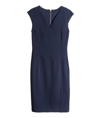 Sleeveless Dress - style: shift; neckline: low v-neck; sleeve style: capped; fit: tailored/fitted; pattern: plain; predominant colour: navy; occasions: evening, work, occasion; length: just above the knee; fibres: polyester/polyamide - stretch; sleeve length: short sleeve; pattern type: fabric; texture group: jersey - stretchy/drapey; season: s/s 2014