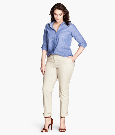 + Chinos - length: standard; pattern: plain; pocket detail: small back pockets, pockets at the sides; waist: mid/regular rise; predominant colour: stone; occasions: casual, work, creative work; fibres: cotton - stretch; jeans & bottoms detail: turn ups; texture group: cotton feel fabrics; fit: slim leg; pattern type: fabric; style: standard; season: s/s 2014