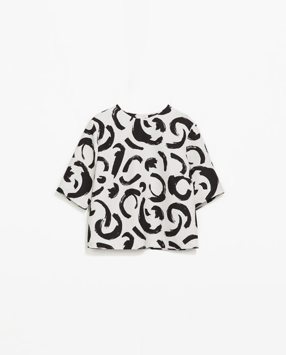Printed Top - predominant colour: white; secondary colour: black; length: standard; style: top; fibres: polyester/polyamide - 100%; fit: straight cut; neckline: crew; sleeve length: short sleeve; sleeve style: standard; pattern type: fabric; pattern: patterned/print; texture group: other - light to midweight; occasions: creative work; trends: art-party prints, monochrome; season: s/s 2014