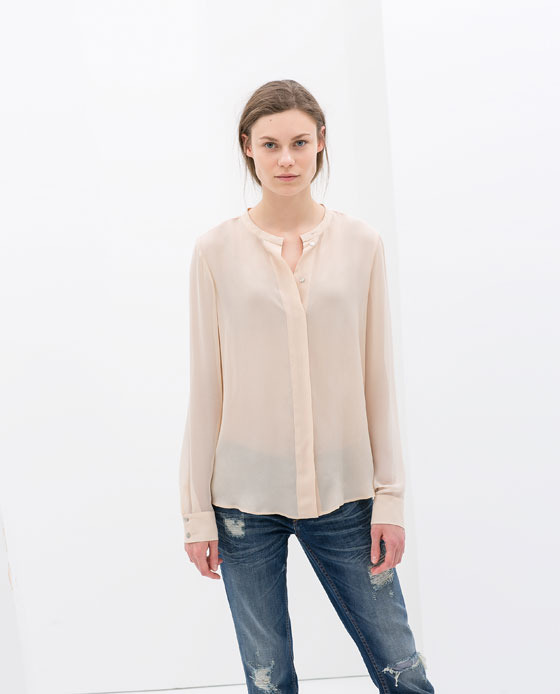 Combined Blouse - neckline: round neck; pattern: plain; style: blouse; predominant colour: nude; occasions: casual, evening, work, occasion, creative work; length: standard; fibres: viscose/rayon - 100%; fit: loose; sleeve length: long sleeve; sleeve style: standard; texture group: silky - light; pattern type: fabric; season: s/s 2014