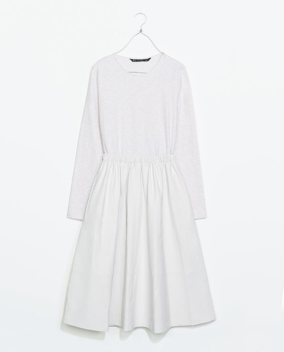 Combination Dress - length: below the knee; neckline: round neck; pattern: plain; predominant colour: white; occasions: casual, evening; fit: fitted at waist & bust; style: fit & flare; fibres: cotton - stretch; sleeve length: long sleeve; sleeve style: standard; texture group: cotton feel fabrics; pattern type: fabric; season: s/s 2014