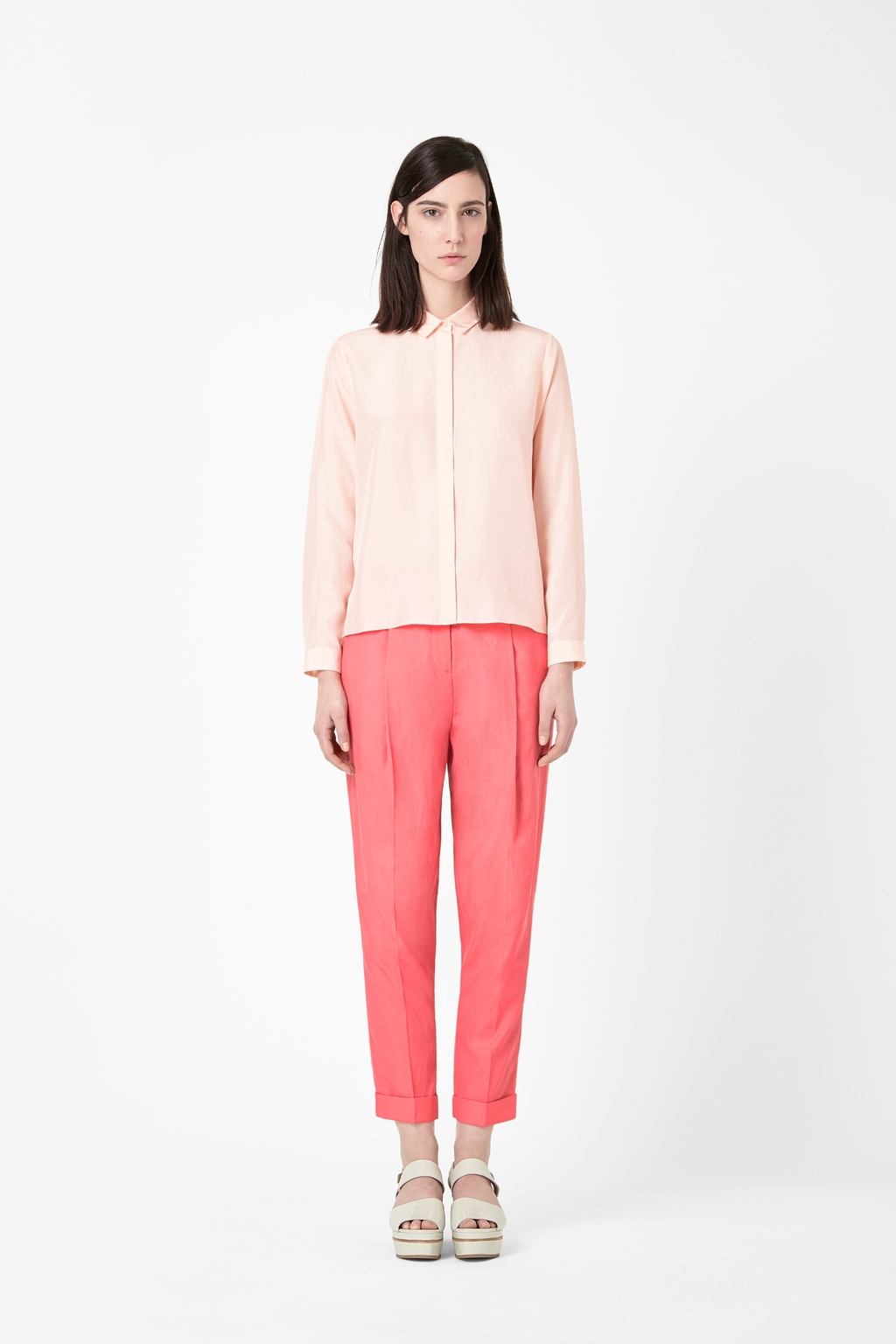 Relaxed Pleated Trousers - pattern: plain; pocket detail: small back pockets, pockets at the sides; style: peg leg; waist: high rise; predominant colour: pink; occasions: casual, evening, work, occasion, creative work; length: ankle length; fibres: cotton - mix; fit: tapered; texture group: woven light midweight; trends: hot brights, sorbet shades; season: s/s 2014