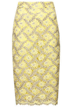 **Limited Edition Metallic Lace Pencil Skirt - length: below the knee; style: pencil; fit: tight; waist: mid/regular rise; predominant colour: primrose yellow; occasions: evening, occasion, creative work; fibres: nylon - 100%; texture group: lace; pattern type: fabric; pattern: patterned/print; embellishment: lace; season: s/s 2014; pattern size: standard (bottom); wardrobe: highlight; embellishment location: all over, pattern