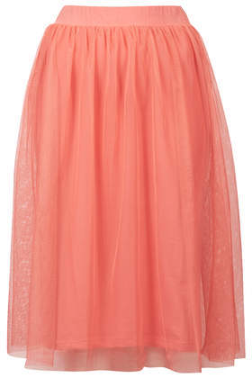 Blush Midi Tulle Skirt - length: below the knee; pattern: plain; style: full/prom skirt; fit: loose/voluminous; waist detail: elasticated waist; waist: mid/regular rise; predominant colour: coral; occasions: casual, evening, occasion, creative work; fibres: polyester/polyamide - 100%; hip detail: soft pleats at hip/draping at hip/flared at hip; pattern type: fabric; texture group: net/tulle; trends: hot brights, sorbet shades; season: s/s 2014