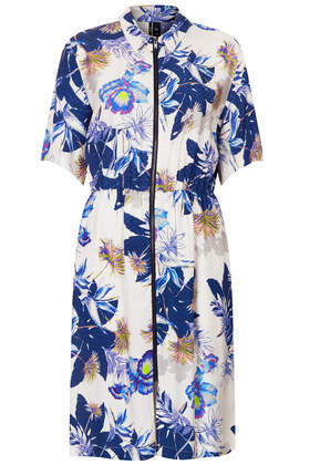 Orchid Flower Shirt Dress - style: shirt; neckline: shirt collar/peter pan/zip with opening; fit: fitted at waist; predominant colour: white; secondary colour: navy; occasions: casual, creative work; length: just above the knee; fibres: viscose/rayon - 100%; sleeve length: short sleeve; sleeve style: standard; pattern type: fabric; pattern size: big & busy; pattern: florals; texture group: other - light to midweight; season: s/s 2014