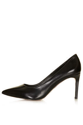 Golden Box Pointed Mid Shoes - predominant colour: black; occasions: evening, work, occasion, creative work; material: leather; heel height: high; heel: stiletto; toe: pointed toe; style: courts; finish: plain; pattern: plain; season: s/s 2014