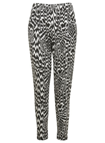 Monochrome Aztec Jogger - length: standard; style: peg leg; waist: mid/regular rise; secondary colour: white; predominant colour: black; occasions: casual, evening, creative work; fibres: viscose/rayon - stretch; fit: tapered; pattern type: fabric; pattern: patterned/print; texture group: other - light to midweight; season: s/s 2014; pattern size: standard (bottom)