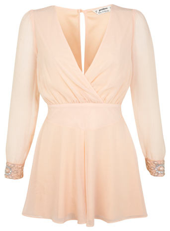 Petites Embellished Cuff Playsuit - neckline: low v-neck; sleeve style: balloon; length: short shorts; predominant colour: nude; occasions: evening, occasion; fit: body skimming; fibres: polyester/polyamide - 100%; back detail: keyhole/peephole detail at back; sleeve length: long sleeve; texture group: sheer fabrics/chiffon/organza etc.; style: playsuit; pattern type: fabric; pattern size: light/subtle; pattern: patterned/print; embellishment: jewels/stone; season: s/s 2014; wardrobe: event; embellishment location: sleeve/cuff