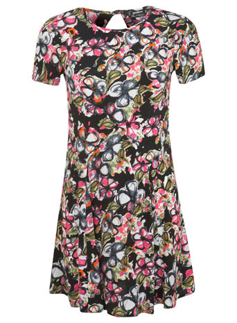 Petites Floral Tea Dress - style: tea dress; length: mid thigh; back detail: low cut/open back; occasions: casual, holiday, creative work; fit: body skimming; fibres: viscose/rayon - 100%; neckline: crew; hip detail: soft pleats at hip/draping at hip/flared at hip; predominant colour: multicoloured; sleeve length: short sleeve; sleeve style: standard; pattern type: fabric; pattern size: big & busy; pattern: florals; texture group: other - light to midweight; trends: furious florals; season: s/s 2014; multicoloured: multicoloured
