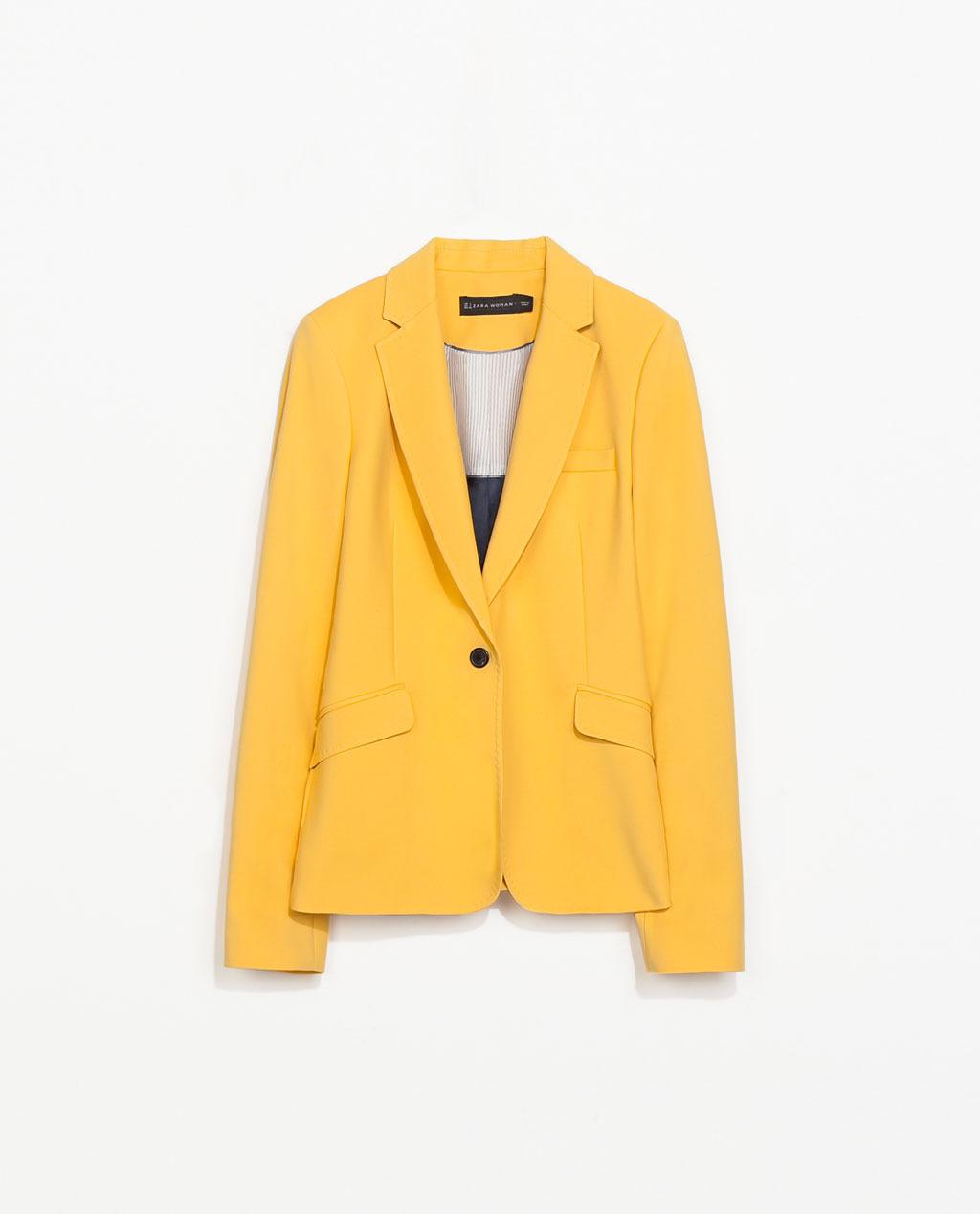 Tailored Blazer - pattern: plain; style: single breasted blazer; collar: standard lapel/rever collar; predominant colour: yellow; occasions: casual, evening, creative work; length: standard; fit: tailored/fitted; fibres: cotton - stretch; sleeve length: long sleeve; sleeve style: standard; texture group: cotton feel fabrics; collar break: medium; pattern type: fabric; trends: hot brights; season: s/s 2014