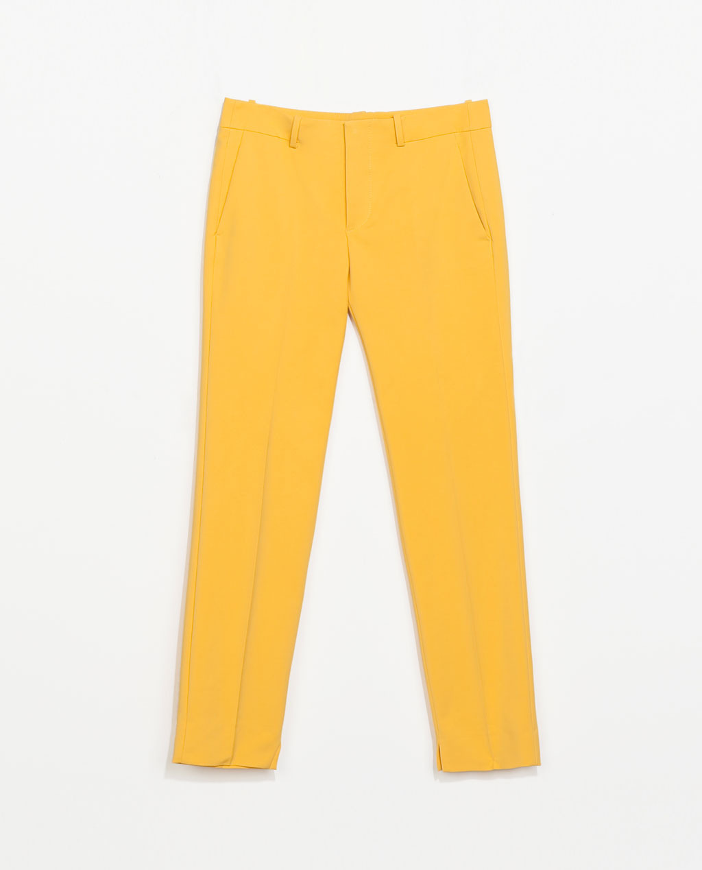 Cotton Trousers - length: standard; pattern: plain; pocket detail: small back pockets, pockets at the sides; waist: mid/regular rise; predominant colour: yellow; occasions: casual, evening, occasion, holiday, creative work; fibres: cotton - stretch; texture group: cotton feel fabrics; fit: slim leg; pattern type: fabric; style: standard; trends: hot brights; season: s/s 2014
