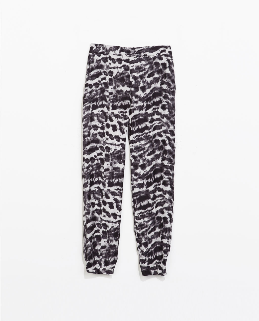 Printed Elastic Trousers - length: standard; style: tracksuit pants; pocket detail: small back pockets, pockets at the sides; waist: mid/regular rise; secondary colour: mid grey; predominant colour: black; occasions: casual, creative work; fibres: polyester/polyamide - 100%; fit: tapered; pattern type: fabric; pattern: animal print; texture group: other - light to midweight; trends: world traveller; season: s/s 2014; pattern size: big & busy (bottom)