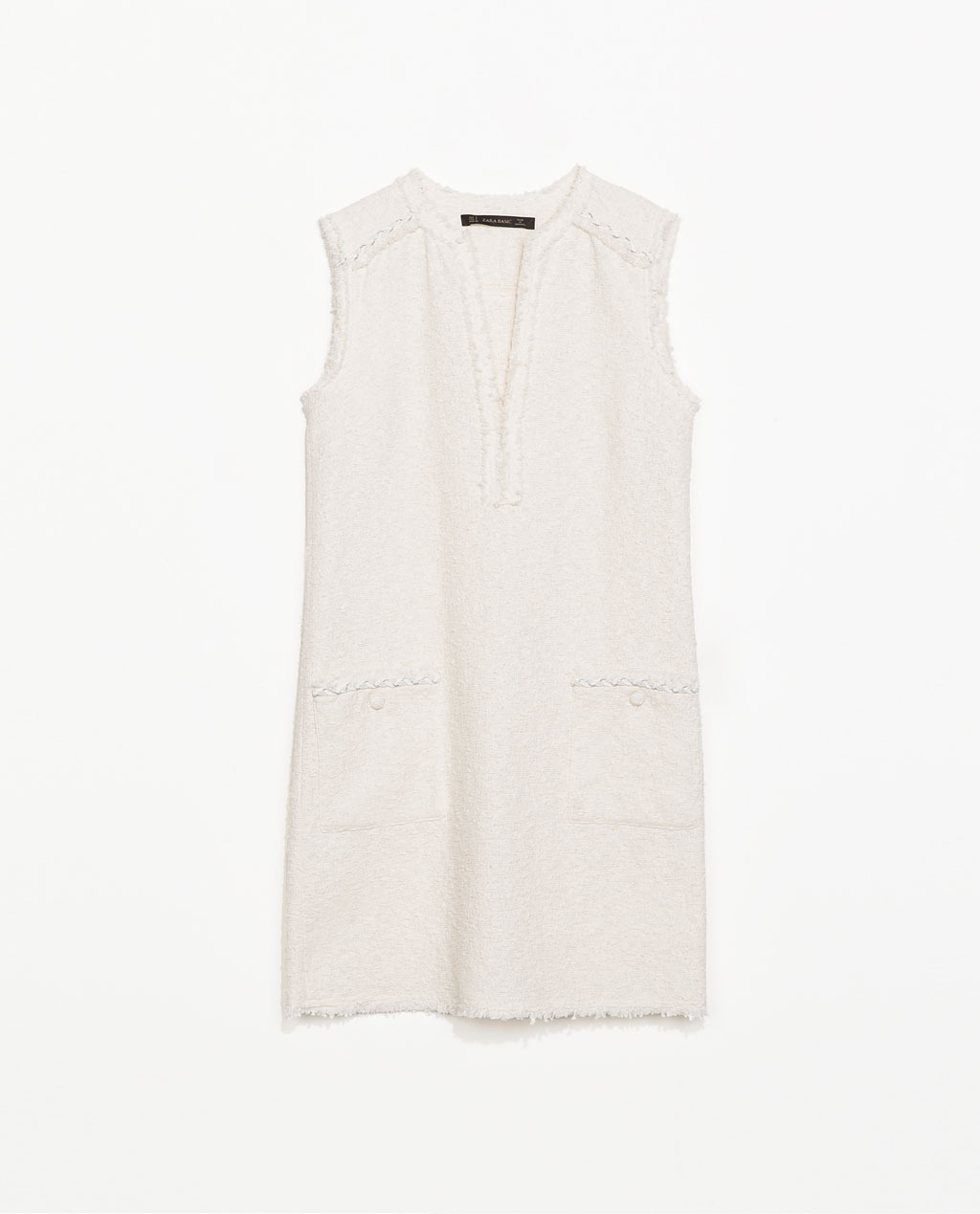 Structured Dress With Pockets - style: shift; length: mid thigh; neckline: low v-neck; sleeve style: sleeveless; hip detail: front pockets at hip; pattern: herringbone/tweed; predominant colour: ivory/cream; occasions: casual, evening, occasion, holiday, creative work; fit: straight cut; fibres: cotton - mix; sleeve length: sleeveless; pattern type: fabric; texture group: tweed - light/midweight; trends: lace; season: s/s 2014