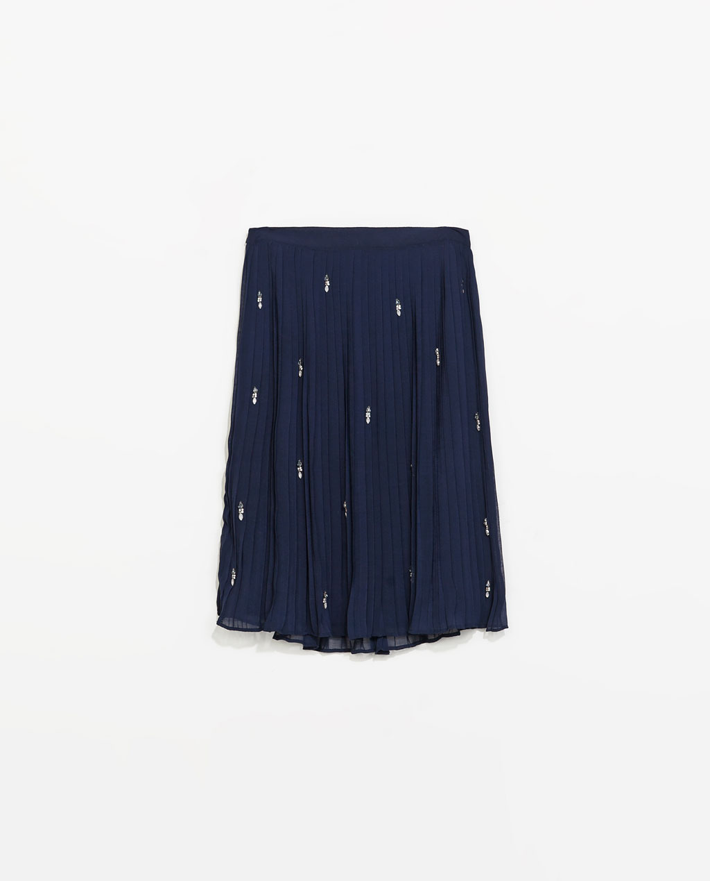 Beaded Fine Pleat Skirt - length: below the knee; pattern: plain; fit: loose/voluminous; style: pleated; waist: mid/regular rise; secondary colour: white; predominant colour: navy; occasions: casual, evening, work, creative work; fibres: polyester/polyamide - 100%; texture group: sheer fabrics/chiffon/organza etc.; pattern type: fabric; embellishment: beading; season: s/s 2014; wardrobe: highlight; embellishment location: pattern