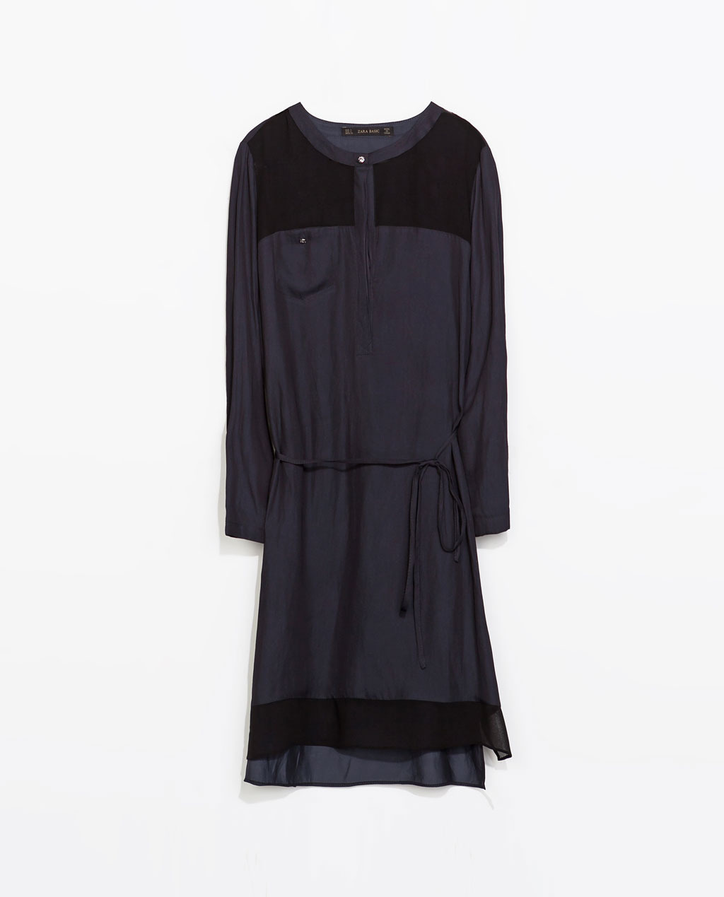 Tunic Dress - style: tunic; length: mid thigh; neckline: round neck; fit: loose; pattern: plain; waist detail: belted waist/tie at waist/drawstring; predominant colour: black; occasions: casual, creative work; fibres: polyester/polyamide - 100%; sleeve length: long sleeve; sleeve style: standard; pattern type: fabric; texture group: other - light to midweight; season: s/s 2014; shoulder detail: sheer at shoulder; wardrobe: highlight