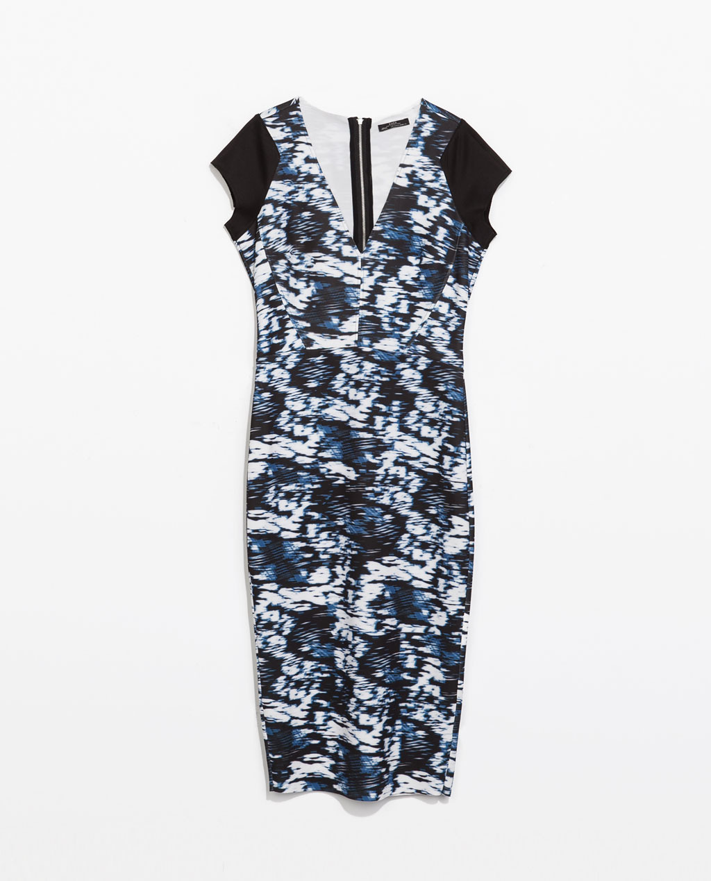 Printed Dress - length: below the knee; neckline: low v-neck; sleeve style: capped; fit: tight; style: bodycon; predominant colour: navy; secondary colour: black; occasions: casual, evening, occasion; fibres: polyester/polyamide - stretch; sleeve length: short sleeve; texture group: jersey - clingy; pattern type: fabric; pattern size: standard; pattern: patterned/print; season: s/s 2014