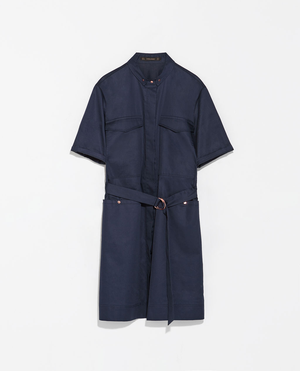 Dress With Belt - style: shirt; length: mid thigh; pattern: plain; waist detail: belted waist/tie at waist/drawstring; predominant colour: navy; occasions: casual, holiday, creative work; fit: body skimming; neckline: collarstand; fibres: cotton - 100%; sleeve length: short sleeve; sleeve style: standard; texture group: cotton feel fabrics; pattern type: fabric; embellishment: studs; season: s/s 2014