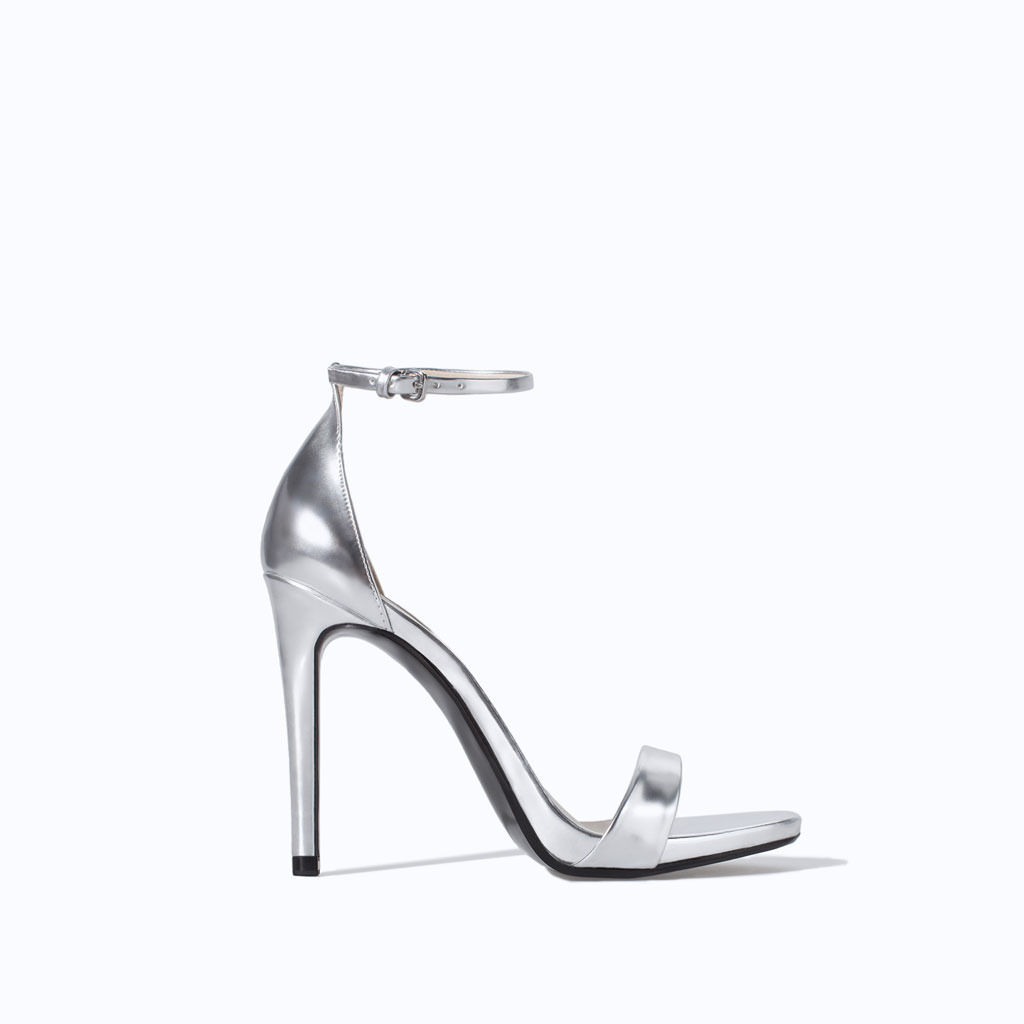 Metallic High Heel Strappy Sandal - predominant colour: silver; occasions: evening, occasion; material: leather; ankle detail: ankle strap; heel: stiletto; toe: open toe/peeptoe; style: standard; finish: metallic; pattern: plain; heel height: very high; season: s/s 2014