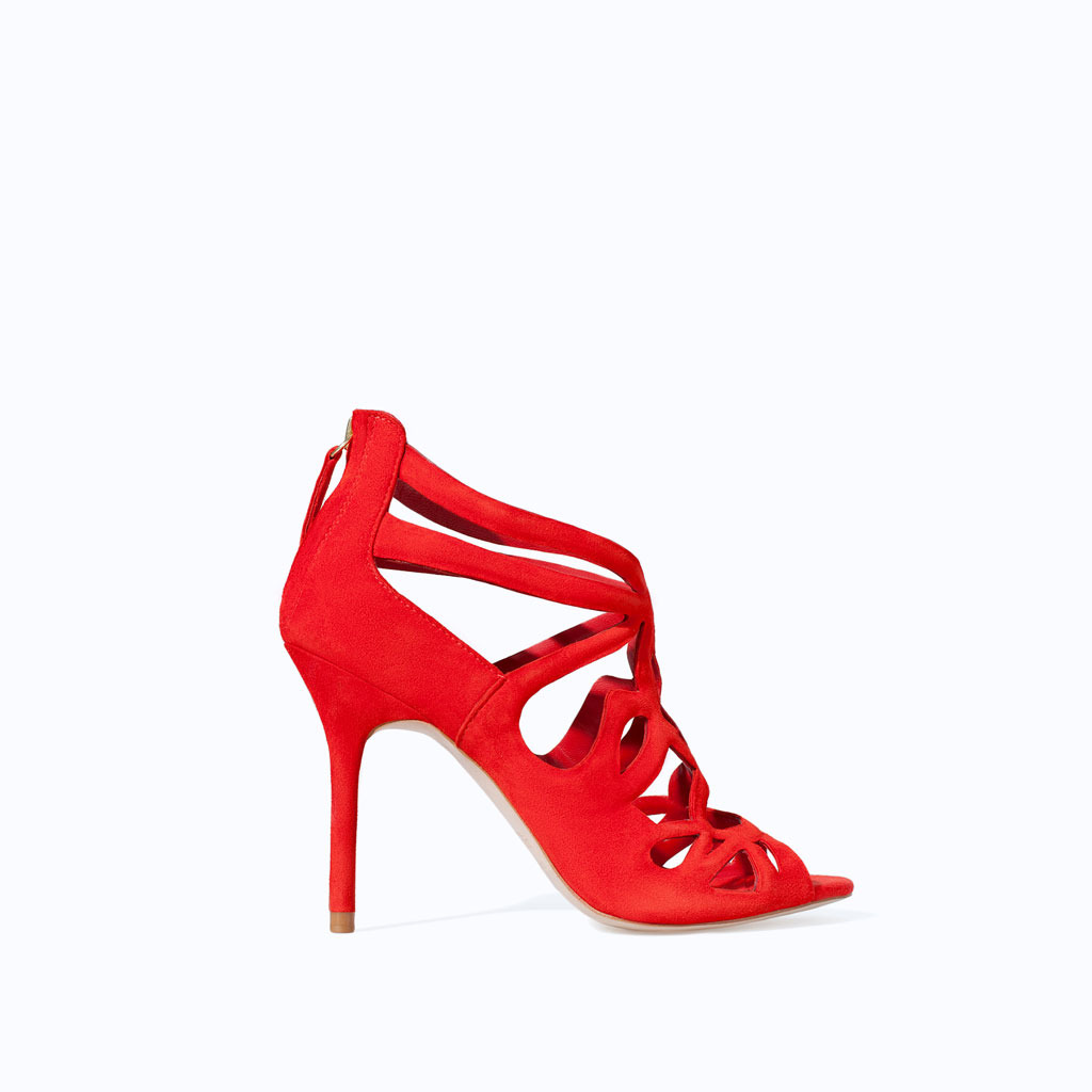 High Heel Strappy Sandal - predominant colour: true red; occasions: evening, occasion, creative work; material: leather; heel height: high; ankle detail: ankle strap; heel: stiletto; toe: open toe/peeptoe; style: strappy; finish: plain; pattern: plain; trends: hot brights; season: s/s 2014