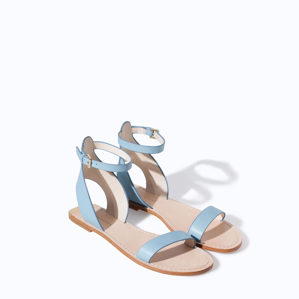 Gold Leather Sandal - predominant colour: pale blue; occasions: casual; material: leather; heel height: flat; ankle detail: ankle strap; heel: standard; toe: open toe/peeptoe; style: standard; finish: plain; pattern: plain; season: s/s 2014