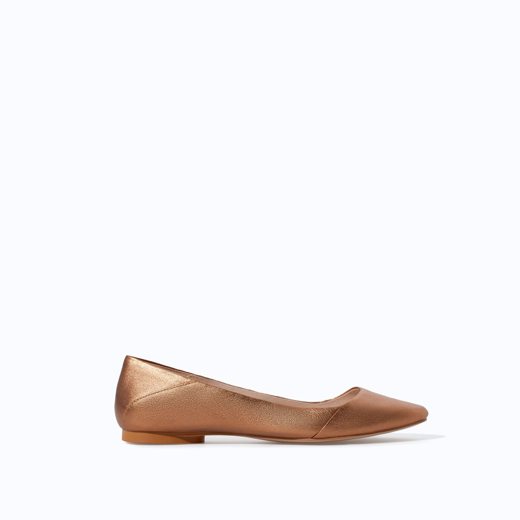 Shiny Leather Velvet Slip On - predominant colour: bronze; occasions: casual, evening, work, creative work; material: leather; heel height: flat; toe: pointed toe; style: ballerinas / pumps; finish: metallic; pattern: plain; trends: shimmery metallics; season: s/s 2014