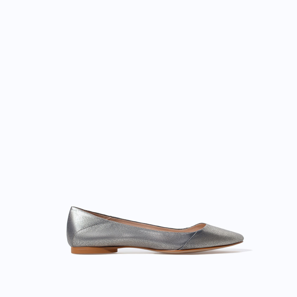 Shiny Leather Velvet Slip On - predominant colour: silver; occasions: casual, creative work; material: leather; heel height: flat; toe: round toe; style: ballerinas / pumps; finish: metallic; pattern: plain; trends: shimmery metallics; season: s/s 2014