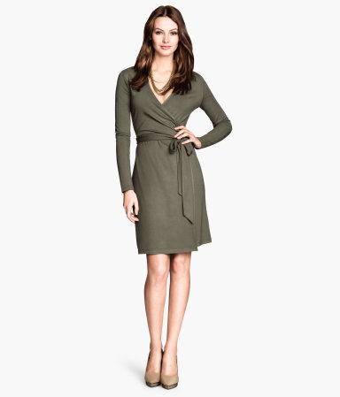 Wrap Dress - style: faux wrap/wrap; neckline: v-neck; pattern: plain; waist detail: belted waist/tie at waist/drawstring; predominant colour: khaki; occasions: casual, evening, creative work; length: just above the knee; fit: body skimming; fibres: viscose/rayon - stretch; sleeve length: long sleeve; sleeve style: standard; pattern type: fabric; texture group: jersey - stretchy/drapey; season: s/s 2014