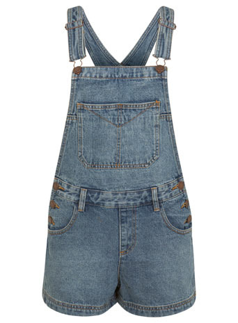 Mid Wash Denim Dungaree - sleeve style: standard vest straps/shoulder straps; pattern: plain; length: short shorts; predominant colour: denim; occasions: casual, holiday; fit: straight cut; fibres: cotton - 100%; back detail: crossover; sleeve length: sleeveless; texture group: denim; style: dungarees; neckline: low square neck; pattern type: fabric; season: s/s 2014