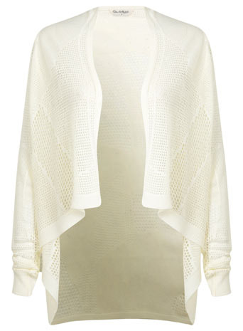 Mesh Waterfall Cardi - sleeve style: raglan; pattern: plain; neckline: waterfall neck; style: open front; predominant colour: ivory/cream; occasions: casual, evening, creative work; length: standard; fibres: acrylic - 100%; fit: loose; back detail: longer hem at back than at front; sleeve length: long sleeve; texture group: knits/crochet; pattern type: knitted - big stitch; season: s/s 2014