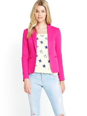 Vondra Blazer - pattern: plain; style: single breasted blazer; collar: standard lapel/rever collar; predominant colour: hot pink; occasions: casual, evening, work, occasion, creative work; length: standard; fit: tailored/fitted; fibres: cotton - mix; sleeve length: long sleeve; sleeve style: standard; collar break: low/open; pattern type: fabric; texture group: other - light to midweight; trends: hot brights; season: s/s 2014
