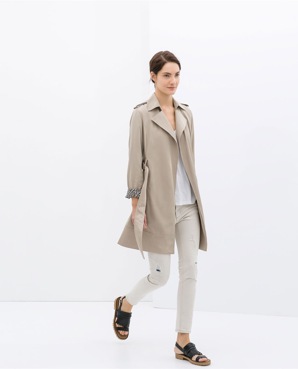 Flowing Trench Coat - pattern: plain; shoulder detail: obvious epaulette; style: trench coat; collar: standard lapel/rever collar; length: mid thigh; predominant colour: stone; occasions: casual, work, creative work; fit: tailored/fitted; fibres: polyester/polyamide - 100%; waist detail: belted waist/tie at waist/drawstring; sleeve length: long sleeve; sleeve style: standard; collar break: medium; pattern type: fabric; texture group: woven light midweight; season: s/s 2014