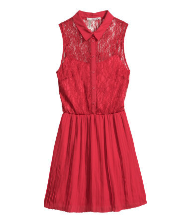 Lace Dress - length: mid thigh; neckline: shirt collar/peter pan/zip with opening; sleeve style: sleeveless; predominant colour: true red; occasions: evening, occasion, holiday, creative work; fit: fitted at waist & bust; style: fit & flare; fibres: polyester/polyamide - 100%; hip detail: structured pleats at hip; sleeve length: sleeveless; texture group: lace; pattern type: fabric; pattern: patterned/print; trends: lace; season: s/s 2014