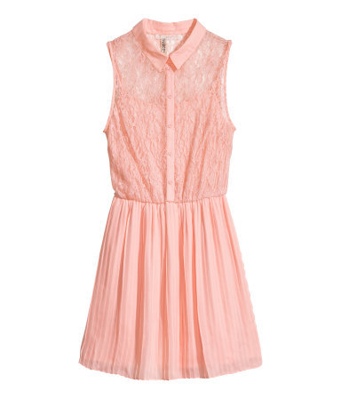 Lace Dress - length: mid thigh; neckline: shirt collar/peter pan/zip with opening; sleeve style: sleeveless; predominant colour: blush; occasions: casual, evening, occasion, holiday; fit: fitted at waist & bust; style: fit & flare; fibres: polyester/polyamide - 100%; hip detail: structured pleats at hip; sleeve length: sleeveless; texture group: lace; pattern: patterned/print; trends: sorbet shades, lace; season: s/s 2014