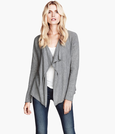 Fine Knit Cardigan - pattern: plain; neckline: waterfall neck; style: open front; predominant colour: mid grey; occasions: casual, work, creative work; length: standard; fibres: polyester/polyamide - mix; fit: loose; sleeve length: long sleeve; sleeve style: standard; texture group: knits/crochet; pattern type: knitted - fine stitch; season: s/s 2014